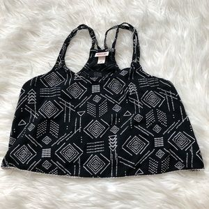 Mossimo tribal print black and white crop top